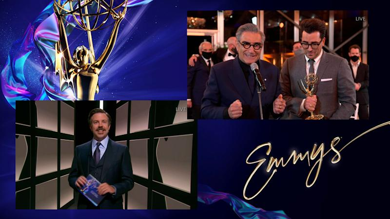 "Jason Sudeikis presents the Emmy for Outstanding Comedy Series to Eugene Levy and Daniel Levy for ""Schitt's Creek."" (Photo: Invision/AP)"