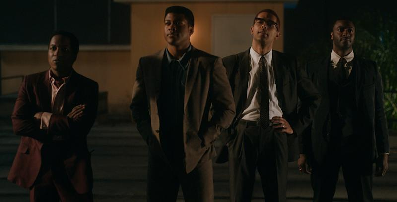 "Leslie Odom Jr. (from left) stars as Sam Cooke, Eli Goree plays Cassius Clay, Kingsley Ben-Adir is Malcolm X and Aldis Hodge is Jim Brown in Regina King's feature directorial debut ""One Night in Miami."""