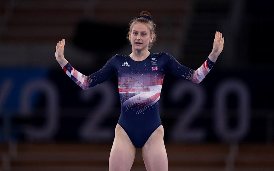 Great Britain's Bryony Page in action during the Women's Trampoline Gymnastics at Ariake Gymnastic Centre on the seventh day of the Tokyo 2020 Olympic Games in Japan - PA/Mike Egerton