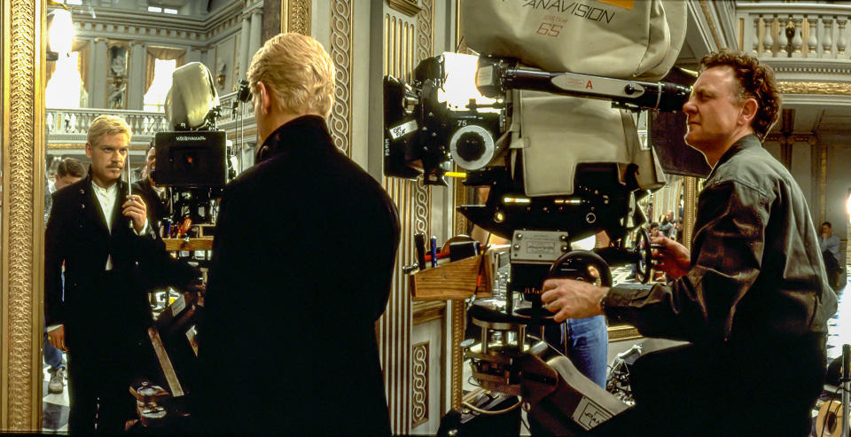 """Kenneth Branagh on the set of """"Hamlet"""" saying """"to be or to to be"""" while filmed by cameraoperator Martin Kenzie (Photo by Rolf Konow/Sygma/Sygma via Getty Images)"""