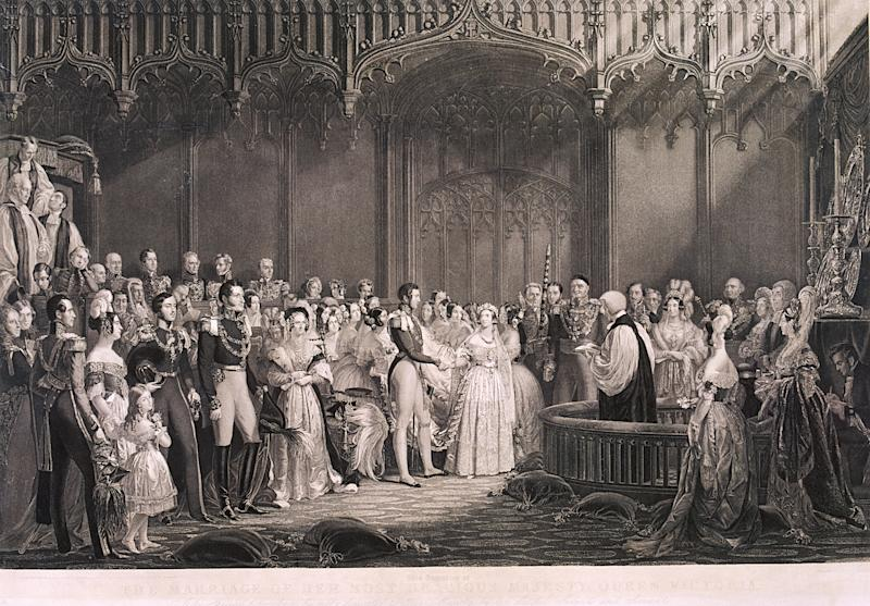 Queen Victoria weds Prince Albert at St. James's Palace in 1840. She had been escorted down the aisle by her favorite uncle.