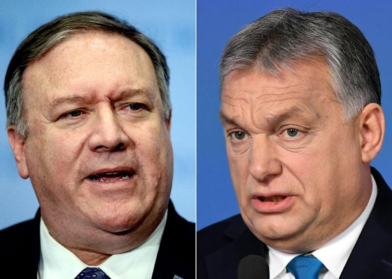 US Secretary of State Mike Pompeo (left) is in Budapest for talks with Prime Minister Viktor Orban (AFP Photo/Johannes EISELE, ATTILA KISBENEDEK)