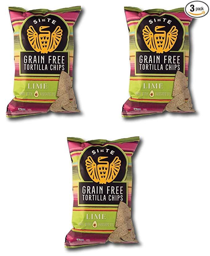 "<p>These <a href=""https://www.popsugar.com/buy/Siete-Lime-Grain-Free-Tortilla-Chips-547421?p_name=Siete%20Lime%20Grain%20Free%20Tortilla%20Chips&retailer=amazon.com&pid=547421&price=20&evar1=fit%3Aus&evar9=45874267&evar98=https%3A%2F%2Fwww.popsugar.com%2Ffitness%2Fphoto-gallery%2F45874267%2Fimage%2F47188963%2FSiete-Lime-Grain-Free-Tortilla-Chips&list1=shopping%2Camazon%2Chealthy%20snacks%2Csnacks&prop13=mobile&pdata=1"" rel=""nofollow"" data-shoppable-link=""1"" target=""_blank"" class=""ga-track"" data-ga-category=""Related"" data-ga-label=""https://www.amazon.com/Siete-Grain-Tortilla-Chips-3-Pack/dp/B07NP8QC9H/ref=sr_1_7?crid=304FUKPDA9UX4&amp;keywords=siete%2Btortilla%2Bchips&amp;qid=1581029897&amp;sprefix=siete%2Bto%2Caps%2C164&amp;sr=8-7&amp;th=1"" data-ga-action=""In-Line Links"">Siete Lime Grain Free Tortilla Chips</a> ($20 for three) came out at our Super Bowl party, and nobody could tell they weren't flour or corn based.</p>"