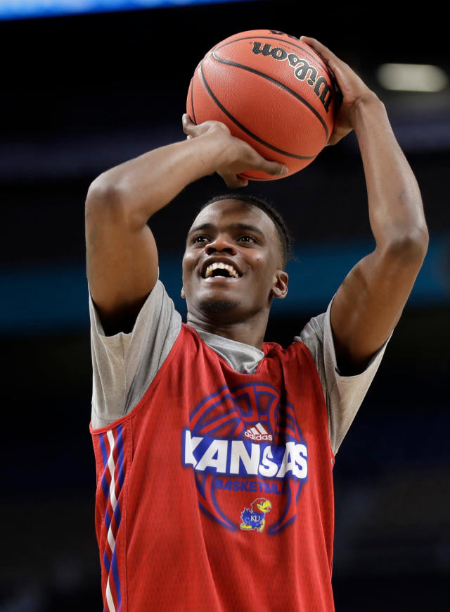 Kansas's Lagerald Vick shoots during a practice session for the Final Four NCAA college basketball tournament, Friday, March 30, 2018, in San Antonio. (AP Photo/Eric Gay)