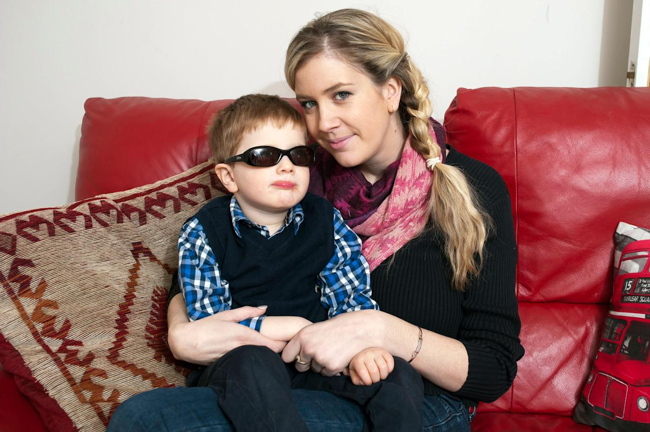 Leo Lake, 5, and his mother Hannah. Leo suffers from Joubert syndrome, a genetic condition (Caters)