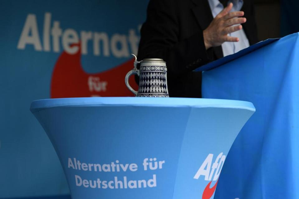 Gottfried Curio, an AfD member of the Bundestag, speaking at an event in Abensberg in September 2019