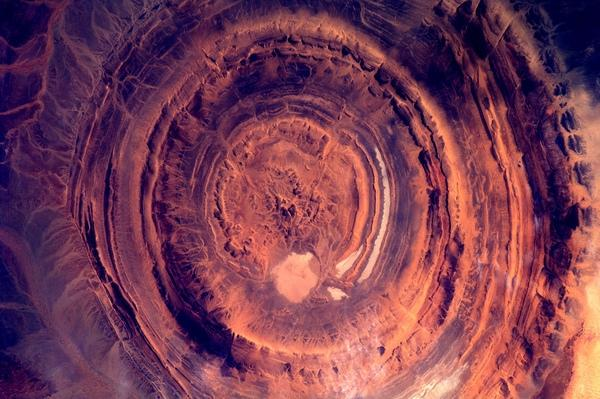 Dutch astronaut Andre Kuipers snapped this photo of a rock formation in Mauritania from the International Space Station. (CREDIT: ESA/NASA)
