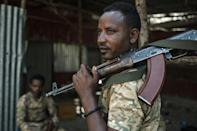 A member of the Amhara special forces at the 5th Battalion of the Northern Command of the Ethiopian Army in Dansha