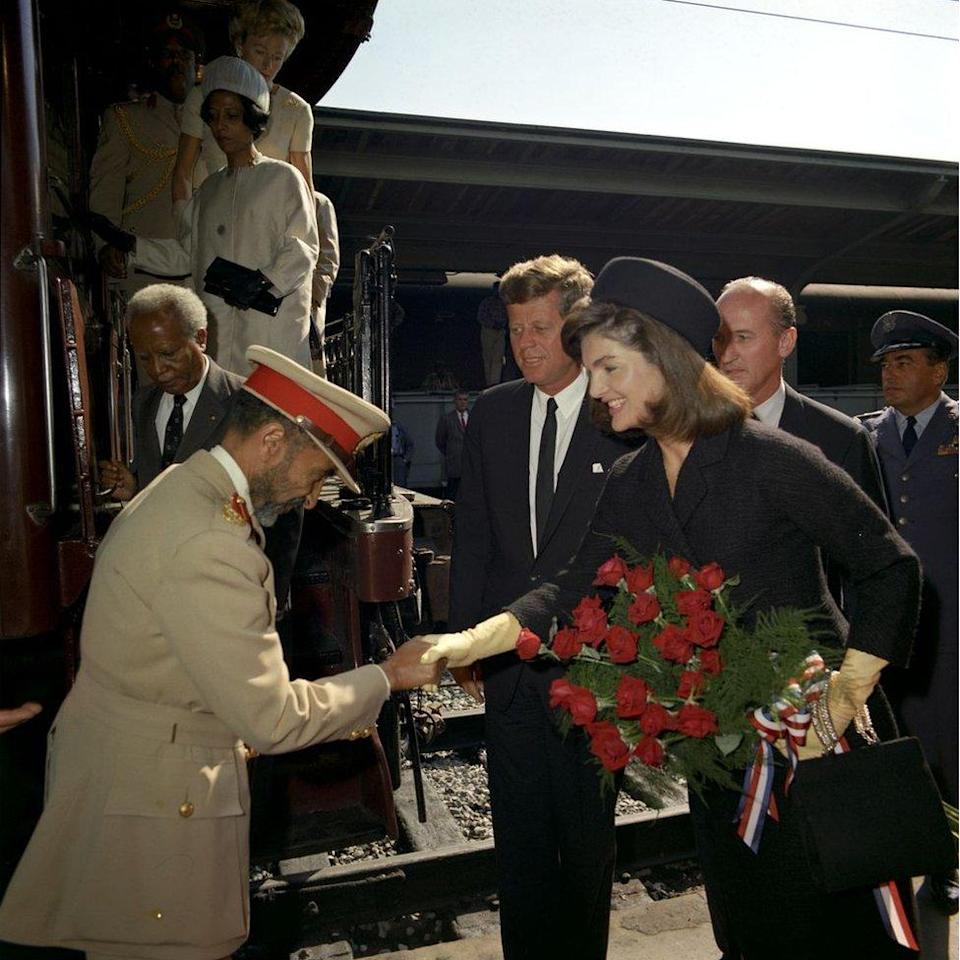 Haile Selassie being greeted by President Kennedy