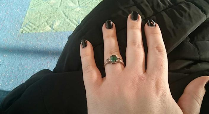 When Will Hargrove proposed to Anna Repkina, he used this ring, seen here on Anna's hand. Little did Anna know, this was the same ring that Michelle Chavez gave to Will as a promise to end her marriage. / Credit: Benton County Sheriff's Office
