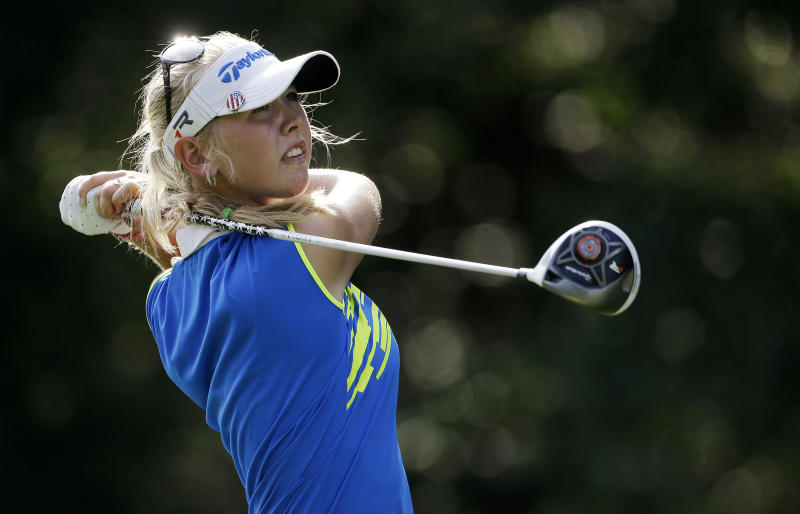 Jessica Korda watches her drive from the 16th tee during the second round in the Mobile Bay LPGA Classic golf tournament at the Robert Trent Jones Golf Trail at Magnolia Grove in Mobile, Ala., Friday, May 17, 2013. (AP Photo/Dave Martin)