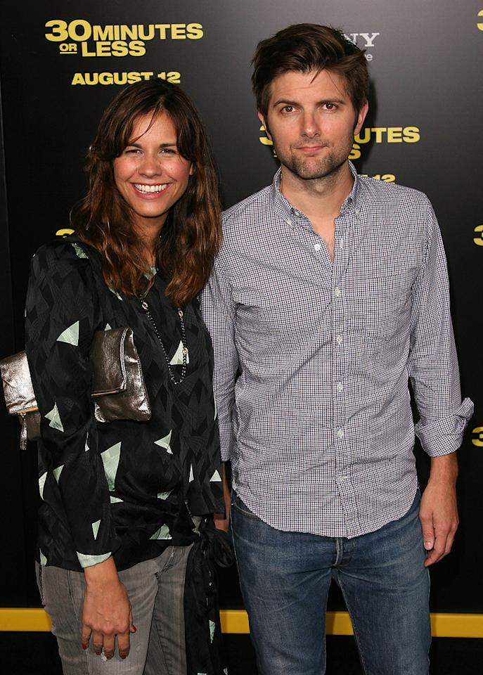 """<a href=""""http://movies.yahoo.com/movie/contributor/1800258850"""">Adam Scott</a> at the Los Angeles premiere of <a href=""""http://movies.yahoo.com/movie/1810160427/info"""">30 Minutes or Less</a> on August 8, 2011."""