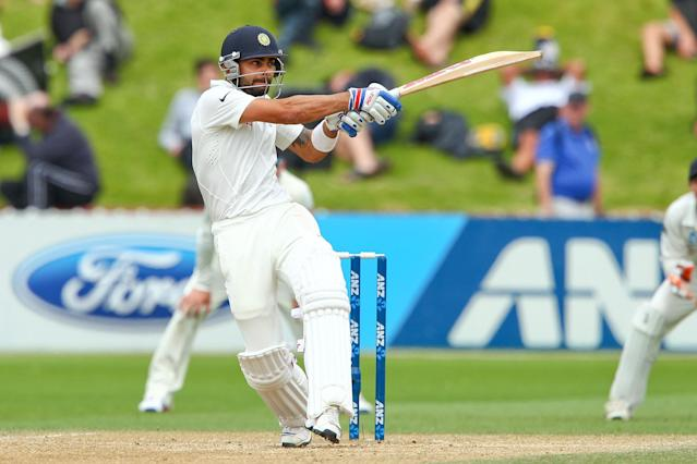 WELLINGTON, NEW ZEALAND - FEBRUARY 18: Virat Kohli of India bats during day five of the 2nd Test match between New Zealand and India on February 18, 2014 in Wellington, New Zealand. (Photo by Hagen Hopkins/Getty Images)