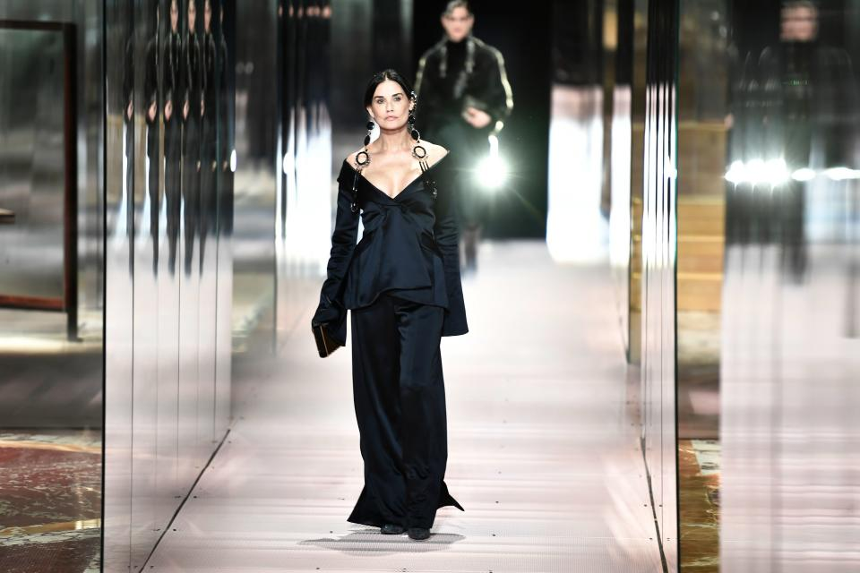 Demi Moore opens for Fendi's Spring-Summer 2021 during Paris Haute Couture Fashion Week. (Photo: Getty Images)