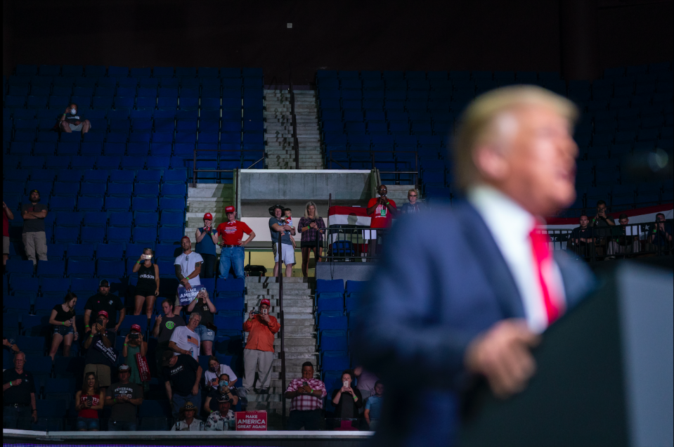 President Trump at his Tulsa rally for the 2020 presidential election bid. (Photo courtesy of the Associated Press)