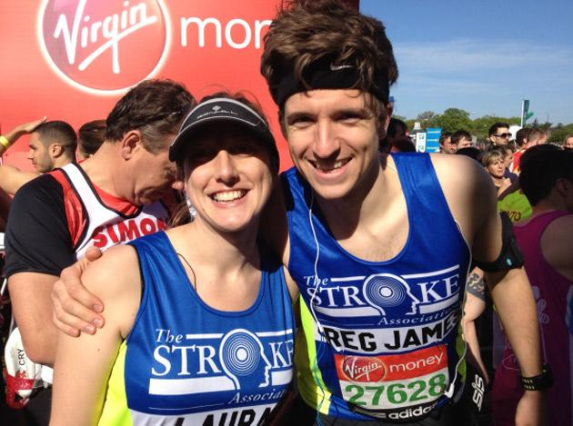 "London Marathon 2012: Radio 1 DJ Greg James posted this on his Twitter with the caption ""Let's win this thing!"""