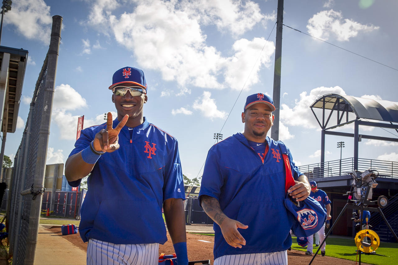 <p>New York Mets Champ Stuart and Dominic Smith show some love for the camera before workouts at the Mets spring training facility in Port St. Lucie, Fla., Monday, Feb. 27, 2017. (Gordon Donovan/Yahoo Sports) </p>