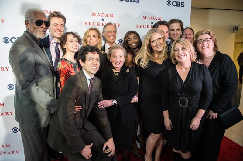 "Former US Secretary of State Madeleine Albright (C) poses with the cast and producers during the premiere of the new television series ""Madam Secretary"" in Washington on September 18, 2014"