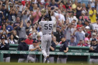 New York Yankees' Domingo German (55) returns to the dugout to applause from the crowd after he had his no-hitter broken up by Boston Red Sox's Alex Verdugo's double in the eighth inning of a baseball game, Sunday, July 25, 2021, in Boston. The Red Sox won 5-4. German was pulled by manager Aaron Boone after Boston's first hit. (AP Photo/Steven Senne)