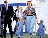 <p>The Duke and Duchess of York are pictured here with their two daughters, Princesses Beatrice and Eugenie, at the Royal Windsor Horse Show in 1992. In a full-on 90s moment, the Duchess is wearing a pale blue denim maxi skirt, and Beatrice and Eugenie look like they're wearing lightweight chambray dresses. Adorable.</p>