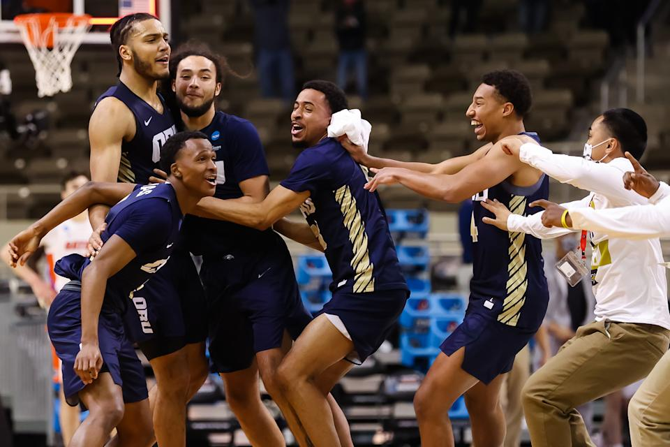 Oral Roberts celebrate its victory over Florida in the NCAA men's tournament. (Trevor Brown Jr/NCAA Photos via Getty Images)