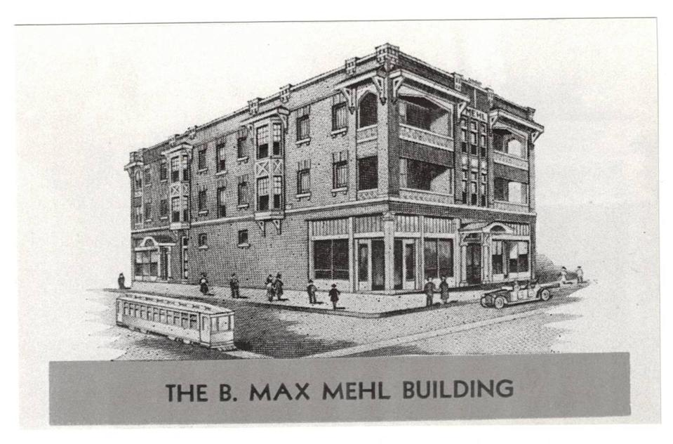 An architect's sketch of the Mehl Building, constructed in 1916 at the corner of Magnolia Avenue and South Henderson. The landmark is part of the Fairmount-Southside Historic District.