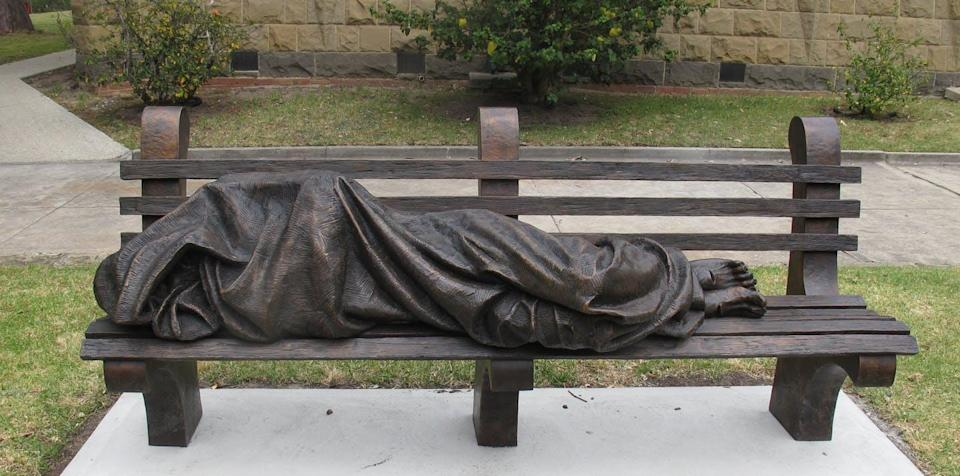"""<span class=""""caption"""">'Homeless Jesus' at Newman College in Melbourne, Australia.</span> <span class=""""attribution""""><span class=""""source"""">(Kaitlin Wynia Baluk)</span>, <span class=""""license"""">Author provided</span></span>"""