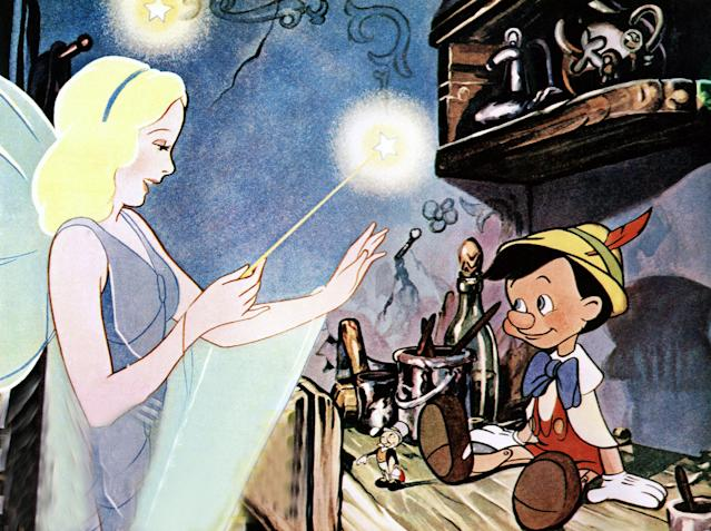 The Blue Fairy gives life to Pinocchio in this still from the Disney animated classic. (Photo: Everett Collection)