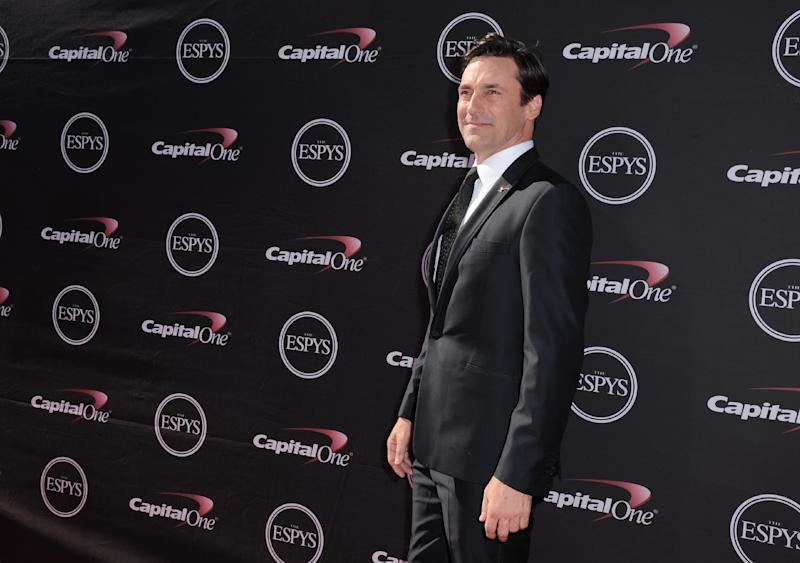 Jon Hamm arrives at the ESPY Awards on Wednesday, July 17, 2013, at Nokia Theater in Los Angeles. (Photo by Jordan Strauss/Invision/AP)