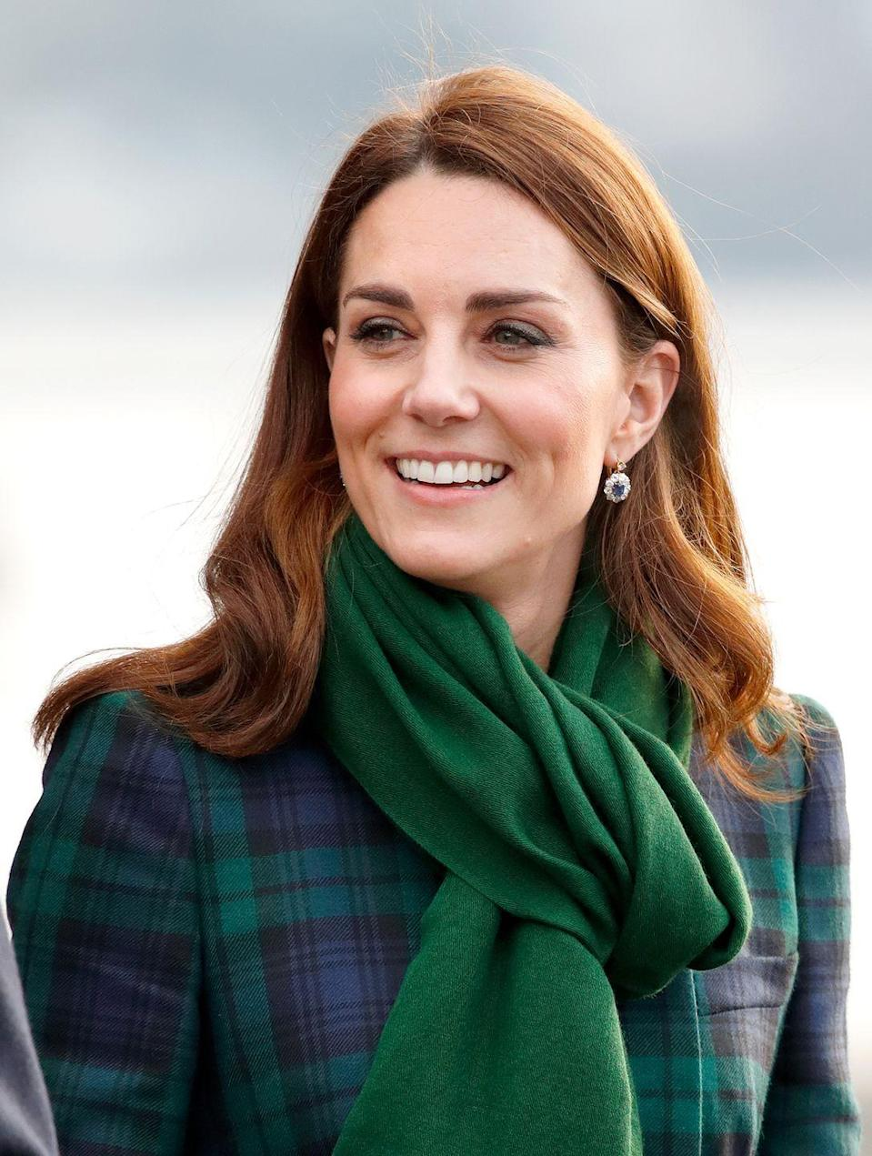 <p>For a visit to Scotland in 2019, Kate Middleton wore a pair of sapphire and diamond drop earrings that belonged to her mother-in-law Princess Diana. Prince William reportedly gifted them to his wife when they got engaged in 2010. </p>
