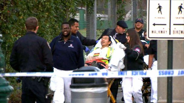 PHOTO: Emergency crews respond to the scene in lower Manhattan after reports of multiple people were injured after a truck plowed through a bike path, Oct. 31, 2017, in New York City. (WABC)