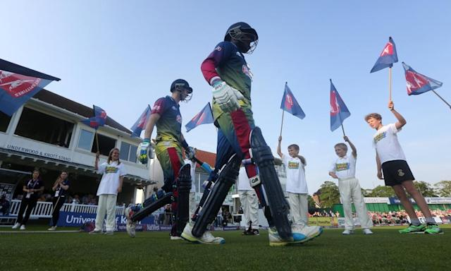 "<span class=""element-image__caption"">Kent's Joe Denly and Daniel Bell-Drummond walk out during last year's T20 Blast. The county competition would continue under the ECB's proposals.</span> <span class=""element-image__credit"">Photograph: Charlie Crowhurst/Getty Images</span>"
