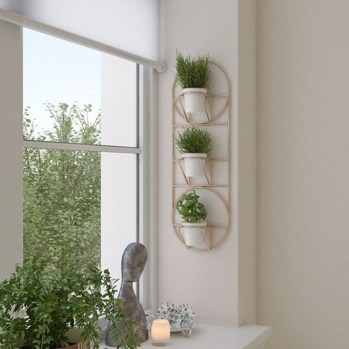 "Create a vertical garden with this modern wall-mounted planter with two-inch pots. $59, Overstock. <a href=""https://www.overstock.com/Home-Garden/Petulah-Wall-Planter/31141680/product.html?option=56558265"" rel=""nofollow noopener"" target=""_blank"" data-ylk=""slk:Get it now!"" class=""link rapid-noclick-resp"">Get it now!</a>"
