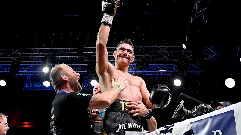 Tim Tszyu celebrates victory in his fight against Jeff Horn during the WBO Global & IBF Australasian Super Welterweight title bout at QCB Stadium on August 26, 2020 in Townsville, Australia. (Photo by Bradley Kanaris/Getty Images)