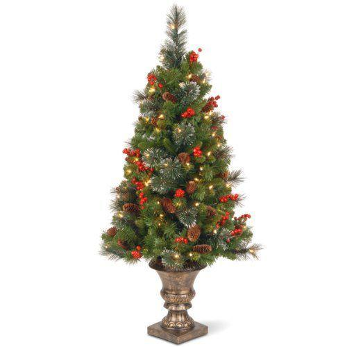 """<p><strong>National Tree Company</strong></p><p>amazon.com</p><p><strong>$78.99</strong></p><p><a href=""""https://www.amazon.com/dp/B009LADFDE?tag=syn-yahoo-20&ascsubtag=%5Bartid%7C2089.g.334%5Bsrc%7Cyahoo-us"""" rel=""""nofollow noopener"""" target=""""_blank"""" data-ylk=""""slk:Shop Now"""" class=""""link rapid-noclick-resp"""">Shop Now</a></p><p>While a full-sized tree will no doubt be the centerpiece of your holiday display, this potted, lightly flocked, faux-spruce sapling extends the Christmas merriment to your entryway. </p><p>Standing 4 feet tall and prelit with 100 lights, this mini artificial Christmas tree is suitable for either indoor or outdoor display. Plus, it's already decorated for you in berries and pinecones.</p>"""