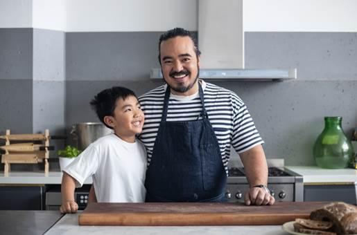 Adam Liaw and his son, Christopher, have been hitting the kitchen during lockdown. Photo: supplied.