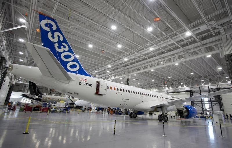 Bombardier's CS300 Aircraft sits in the hangar prior to its' test flight in Mirabel, Quebec