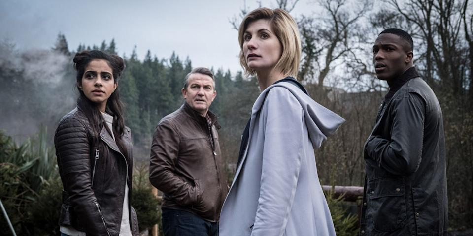 Mandip Gill, Bradley Walsh, Tosin Cole and Jodie Whittaker in Doctor Who Series 11 (BBC One)