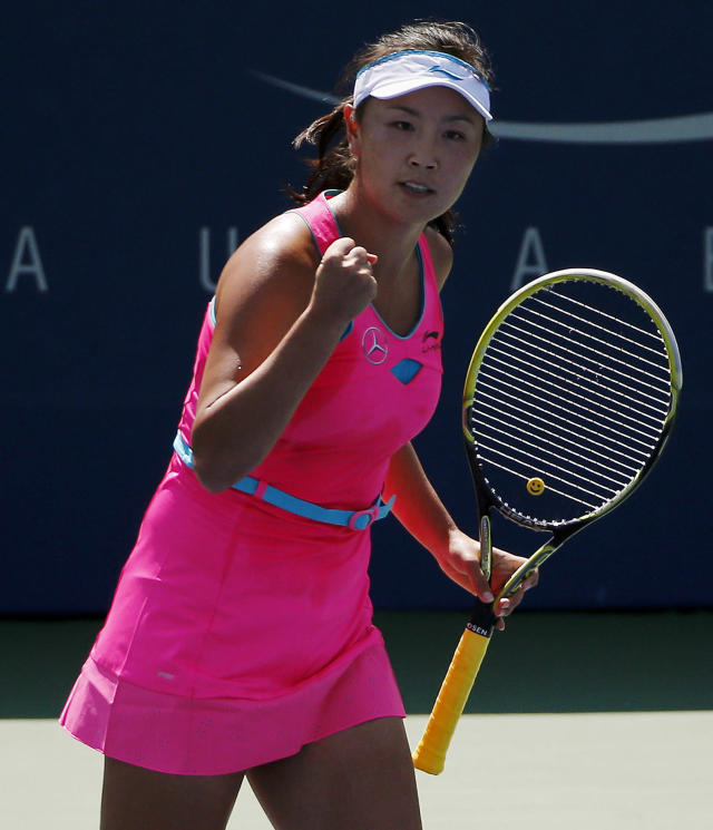 Shuai Peng, of China, reacts after a point against Agnieszka Radwanska, of Poland, of Australia, during the second round of the 2014 U.S. Open tennis tournament, Wednesday, Aug. 27, 2014, in New York. (AP Photo/Elise Amendola)