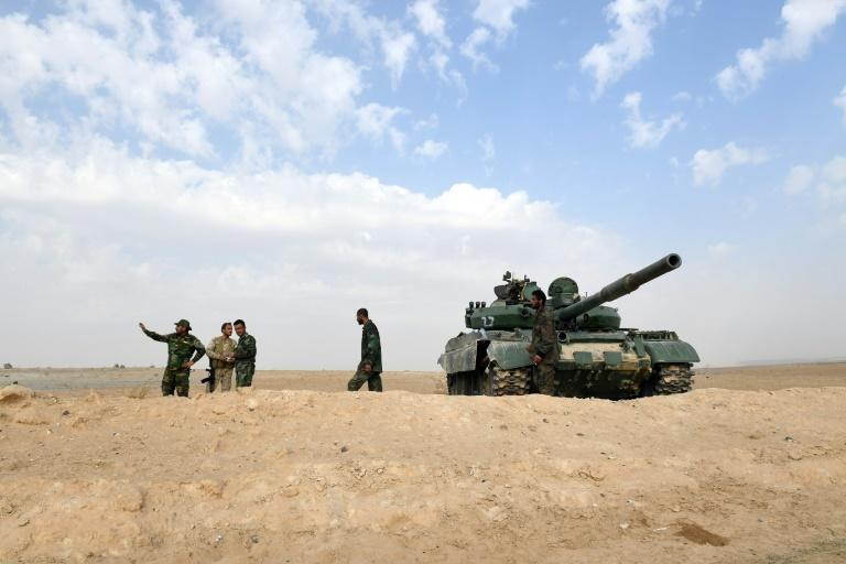 Syrian government forces preparing to attack rebel forces near the village of Sawwan, in the Aleppo governorate, this week