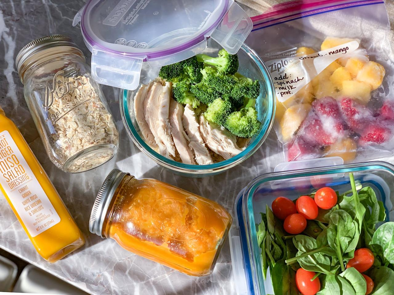 """<p>I think one of the pitfalls for new meal-preppers is monotony; if you're forced to eat the same food for every single meal, you're bound to divert from your plan. <a href=""""https://www.popsugar.com/fitness/Healthy-Meal-Prep-Ideas-44074194"""" class=""""ga-track"""" data-ga-category=""""Related"""" data-ga-label=""""https://www.popsugar.com/fitness/Healthy-Meal-Prep-Ideas-44074194"""" data-ga-action=""""In-Line Links"""">Keep things fresh and interesting</a> with a balanced menu, while still keeping it simple - you don't want to have to make 15 different recipes for a five-day week, right?</p> <p>Here's what my sample week looks like:</p> <ul> <li> <strong>Breakfasts:</strong> Three smoothies, two overnight oats</li> <li> <strong>Lunches:</strong> Three salads, two protein bowls</li> <li> <strong>Dinners:</strong> Three protein bowls, two soups</li> </ul> <p>You can mix these up throughout the week and alternate. (In other words, you could have smoothies for breakfast on Monday, Wednesday, and Friday and overnight oats on Tuesday and Thursday. The same is true for salads, bowls, and soups.) The bases will be similar and easy to prepare, but you can dress them up in different ways. </p> <p>For example, <a href=""""https://www.popsugar.com/fitness/Overnight-Oats-Recipes-40240933"""" class=""""ga-track"""" data-ga-category=""""Related"""" data-ga-label=""""https://www.popsugar.com/fitness/Overnight-Oats-Recipes-40240933"""" data-ga-action=""""In-Line Links"""">preparing overnight oats</a> comes down to having oats, chia, and plant milk - or regular milk, whatever works - but you can mix in different spices and toppings to incorporate more variety. With salads, you can spice things up with different dressings and toppings, but you'll still portion out the same leafy green base.</p>"""