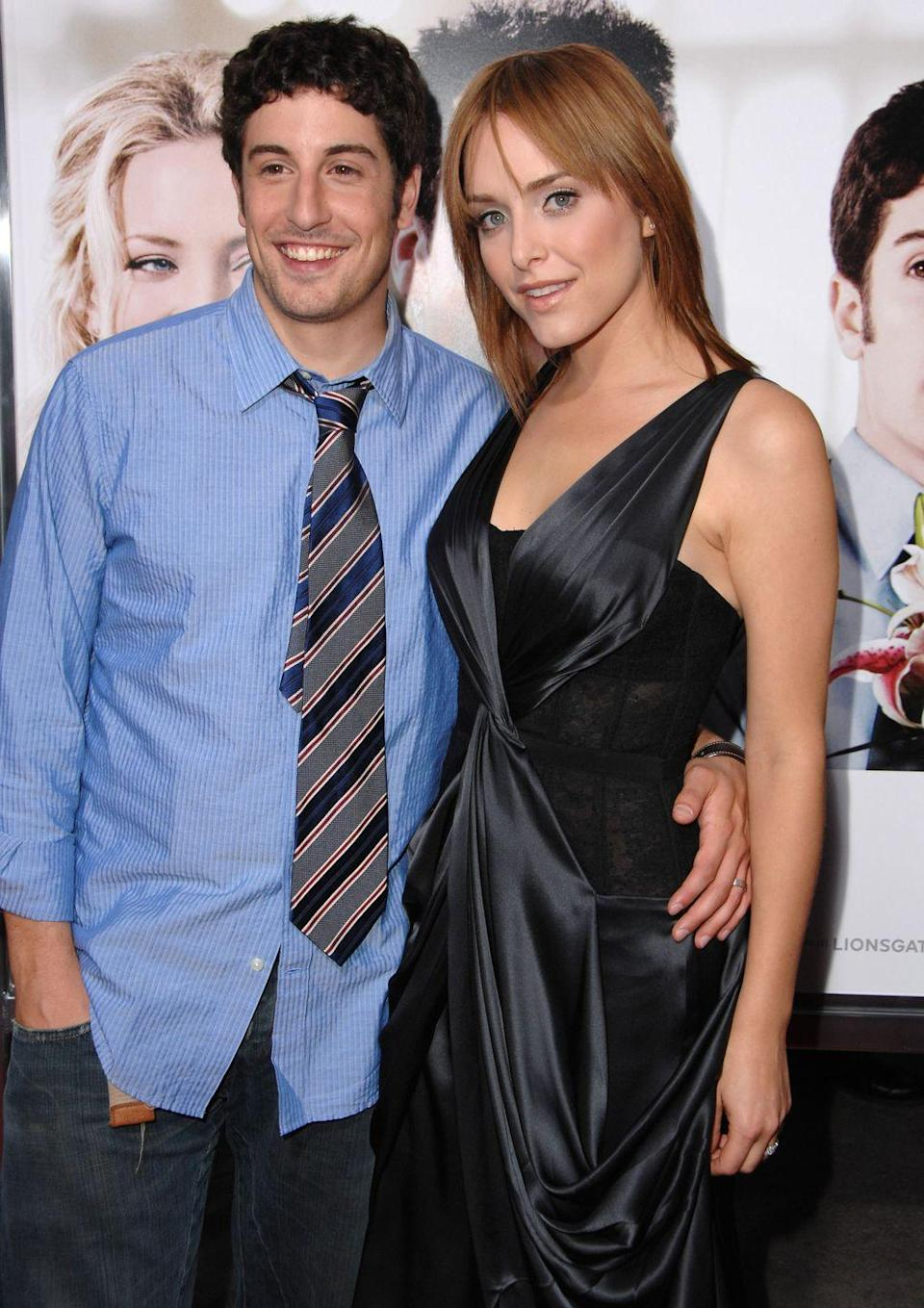 """<p>After meeting on a blind date, Jason Biggs and Jenny Mollen were smitten with one another. They eloped in Los Angeles and three months later had a <a href=""""https://www.eonline.com/uk/news/10110/jason-biggs-little-wedding"""" rel=""""nofollow noopener"""" target=""""_blank"""" data-ylk=""""slk:small ceremony in Napa Valley"""" class=""""link rapid-noclick-resp"""">small ceremony in Napa Valley</a> with friends and family. """"The newlyweds wanted to take in this moment without any distractions,"""" the couple's publicist, Lisa Jammal, <a href=""""https://www.eonline.com/uk/news/10110/jason-biggs-little-wedding"""" rel=""""nofollow noopener"""" target=""""_blank"""" data-ylk=""""slk:shared in a statement"""" class=""""link rapid-noclick-resp"""">shared in a statement</a> about their elopement.</p>"""