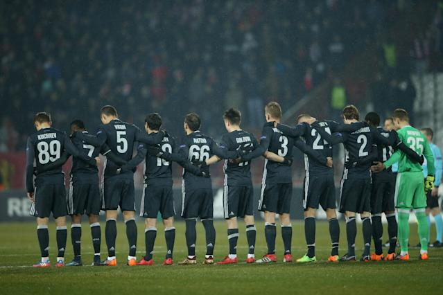 Soccer Football - Europa League - Red Star Belgrade vs CSKA Moscow - Rajko Mitic Stadium, Belgrade, Serbia - February 13, 2018 CSKA Moscow players line up before the match REUTERS/Marko Djurica