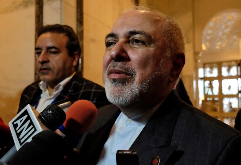 FILE PHOTO: Iran's Foreign Minister Zarif speaks with the media on the sidelines of a security conference in New Delhi