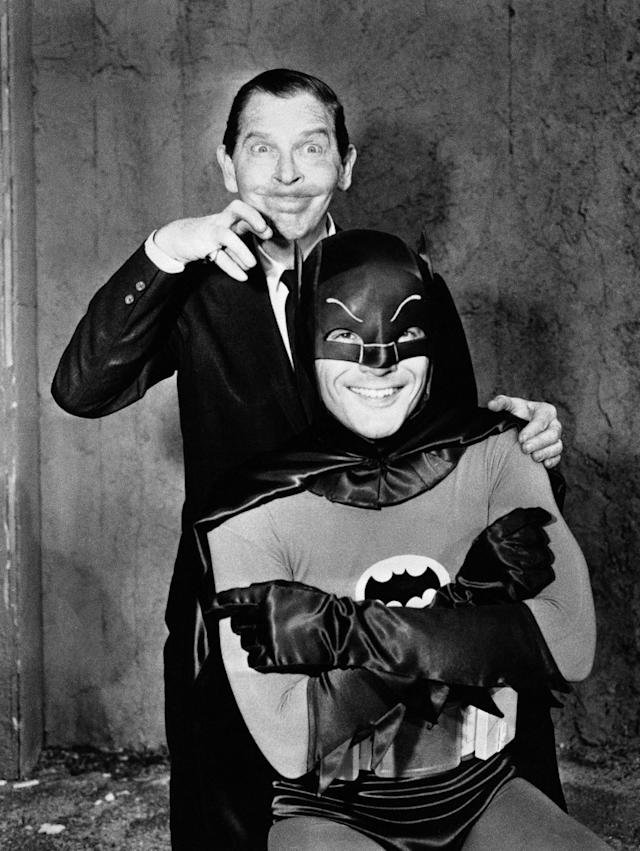 "<p>Milton Berle returns for a second time as guest-host on ABC-TV's ""Hollywood Palace"" in color, March 5, 1966 and welcomes television's brightest, new star Batman, portrayed by Adam West, who will join Berle in a skit on the weekly variety spectacular. (Photo: AP) </p>"