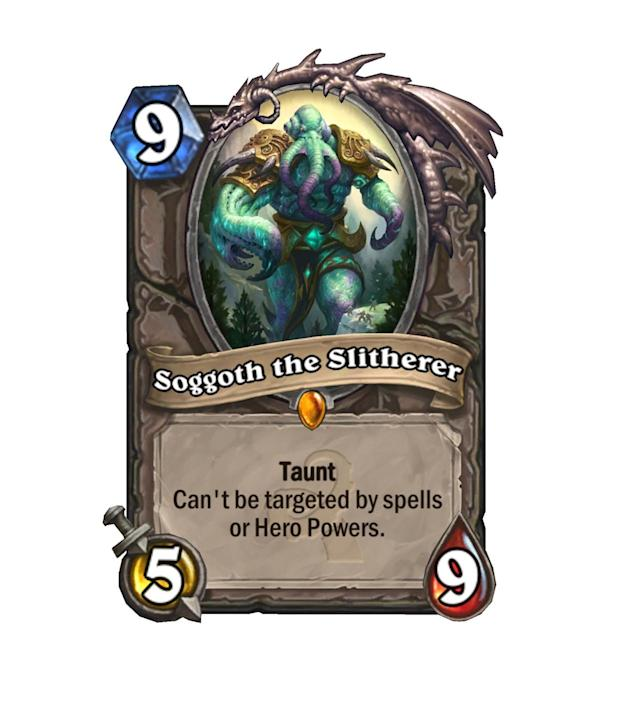 <p>Easily the most annoying of the Legendaries in Whispers of the Old Gods, Slogoth can't even be taken out by the trusty Big Game Hunter. Have fun, aggro decks.</p>