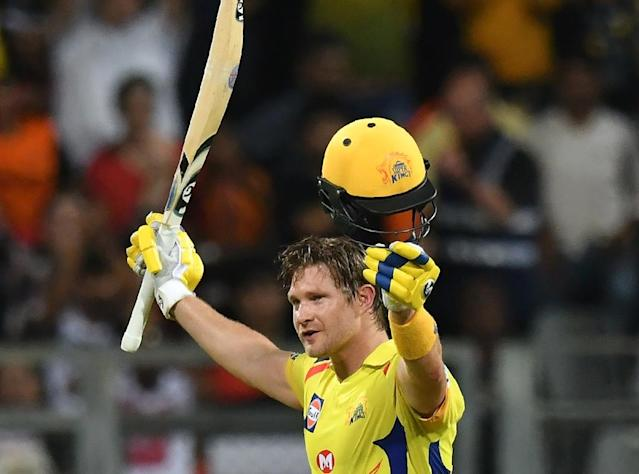 Shane Watson smashed an unbeaten 117 as Chennai Super Kings thrashed Sunrisers Hyderabad to win their third Indian Premier League title in a spectacular return from a two-year corruption ban (AFP Photo/PUNIT PARANJPE)