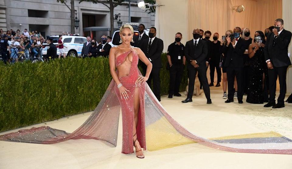Saweetie wore a Valentino dress split up the thigh (Evan Agostini/Invision/AP) (AP)