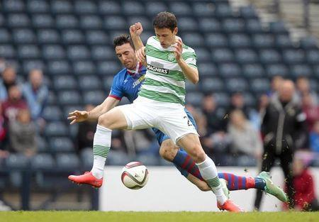 Football - Inverness Caledonian Thistle v Celtic - William Hill Scottish FA Cup Semi Final - Hampden Park, Glasgow, Scotland - 19/4/15 Inverness Caledonian Thistle's Ross Draper (L) in action with Celtic's Aleksandar Tonev Action Images via Reuters / Graham Stuart Livepic