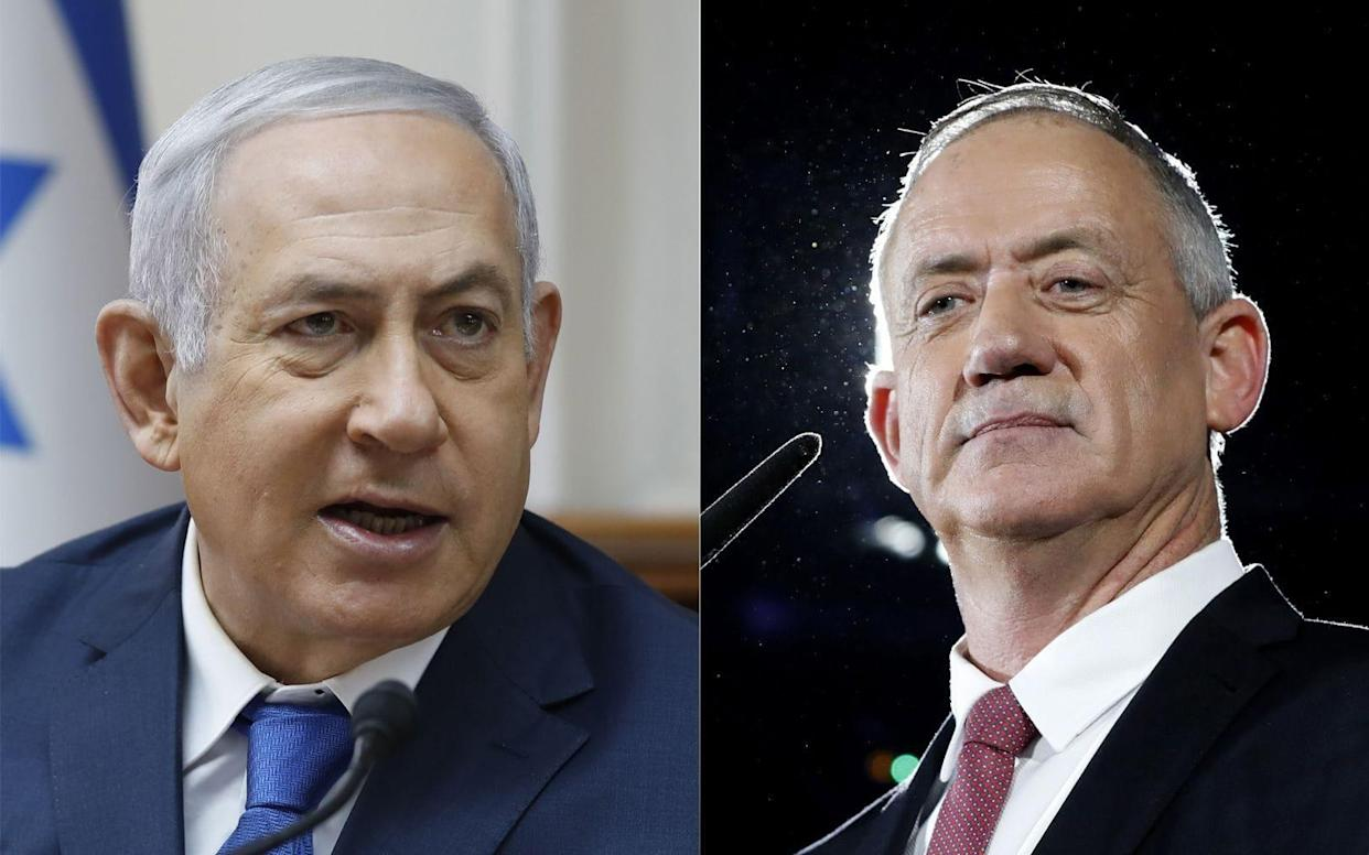 Benny Gantz (right) looks likely to be given first chance to form a government to replace Benjamin Netanyahu (left) - REX
